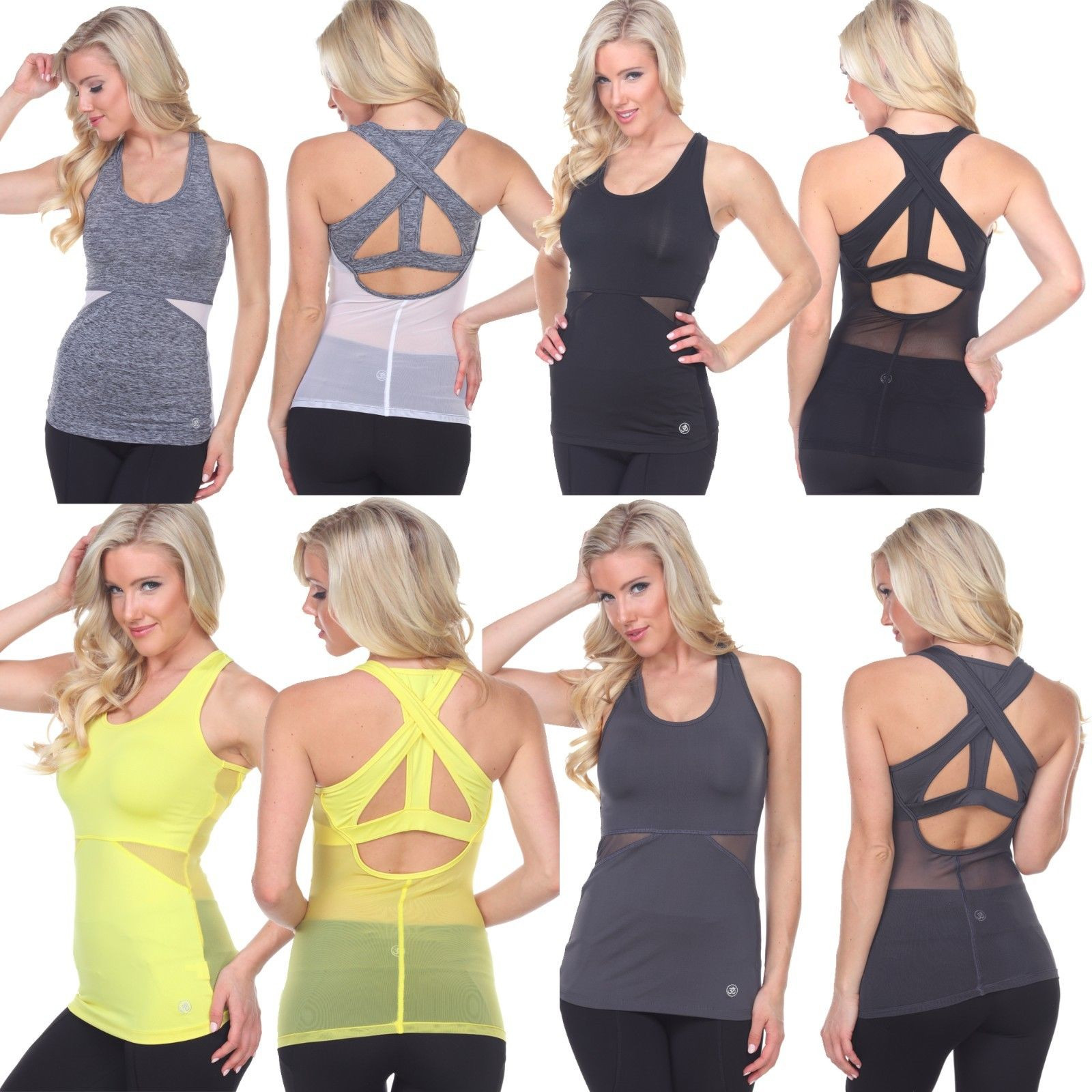 Women's Mesh Tank Top Gym Yoga sleeveless open back Activewear 5 colors