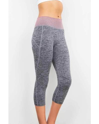 New Trendy Contrast Waistband Gym Workout Yoga Calf Length Mid Rise Capri Pants