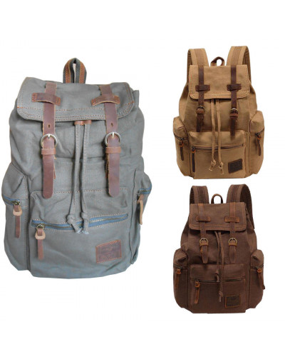 Canvas Travel Leather Backpack Sport Rucksack Camping School Satchel Hiking Bag