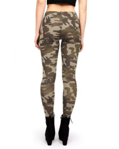 Women New Camouflage Leggings High Waist Rise Jeggings Fitted Camo Pants Tight